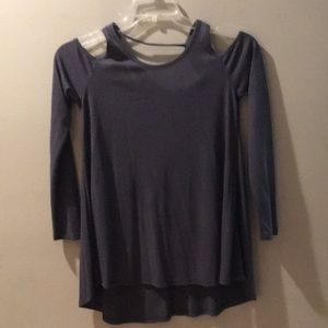 Acemi size S grey cold shoulder top. 25 inches